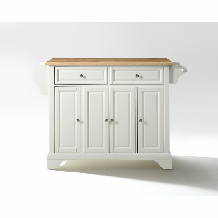 Crosley Furniture - LaFayette Natural Wood Top Kitchen Island in White Finish - KF30001BWH