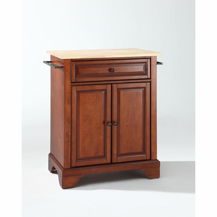 Crosley Furniture - LaFayette Natural Wood Top Portable Kitchen Island in Classic Cherry Finish - KF30021BCH