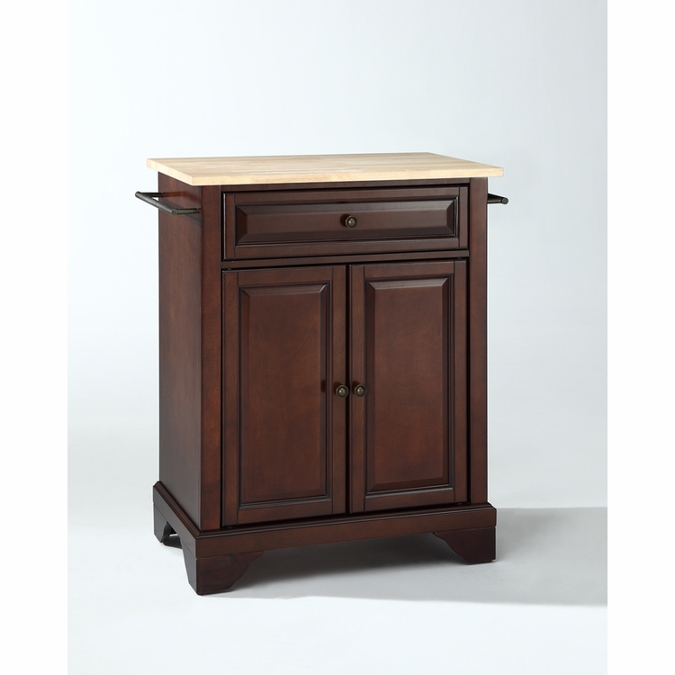 Crosley Furniture - LaFayette Natural Wood Top Portable Kitchen Island in Vintage Mahogany Finish - KF30021BMA