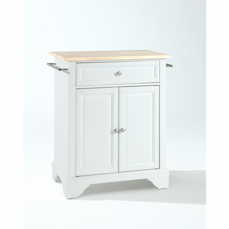 Crosley Furniture - LaFayette Natural Wood Top Portable Kitchen Island in White Finish - KF30021BWH