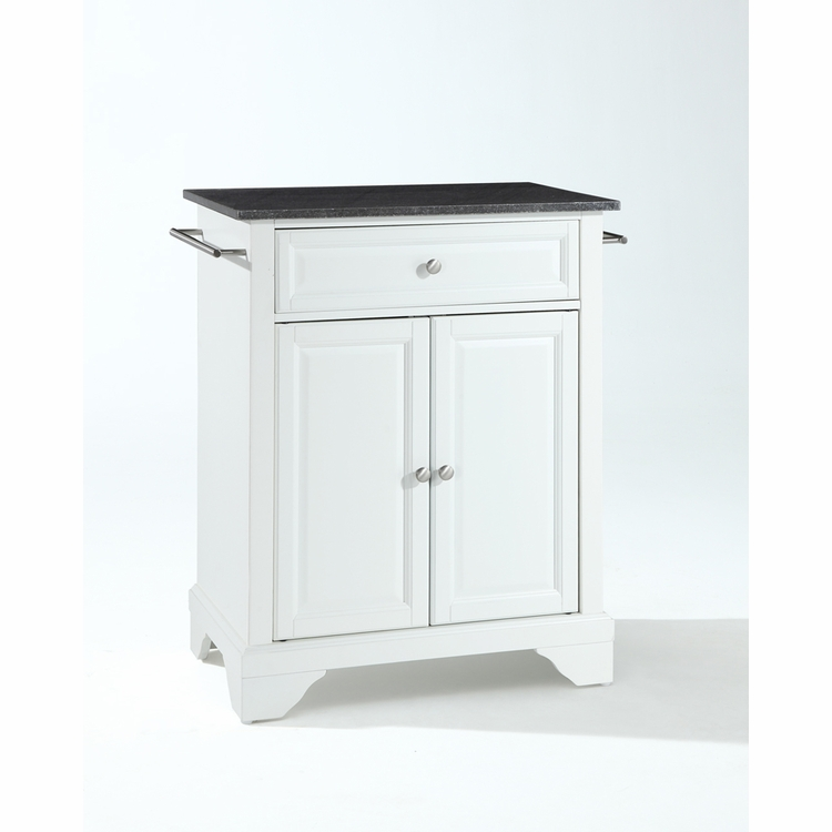 Crosley Furniture - LaFayette Solid Black Granite Top Portable Kitchen Island in White Finish - KF30024BWH