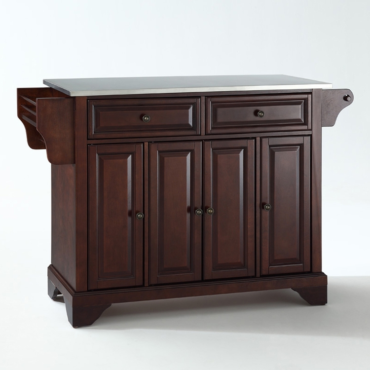 Crosley Furniture - LaFayette Stainless Steel Top Kitchen Island in Vintage Mahogany Finish - KF30002BMA