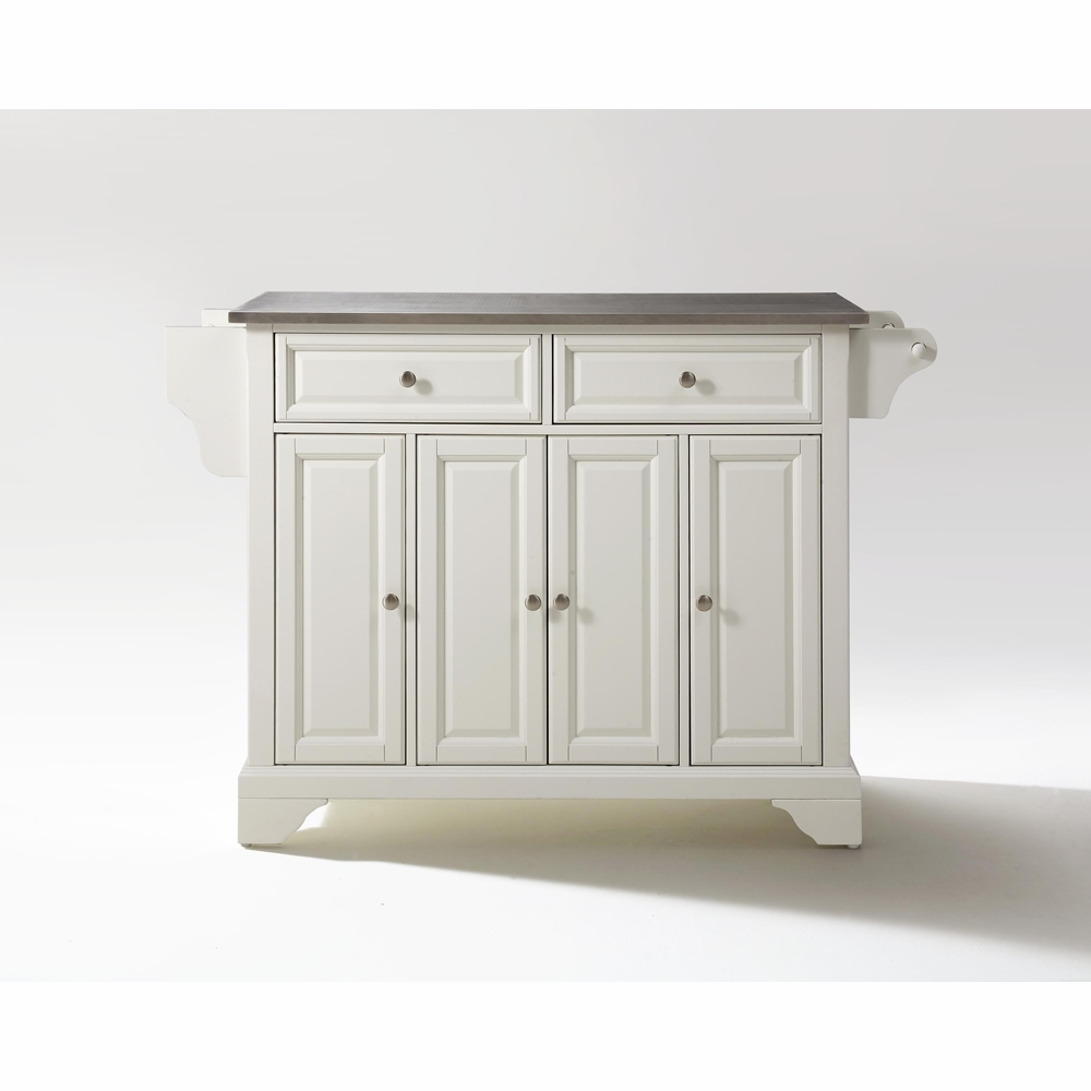 Crosley Furniture Lafayette Stainless Steel Top Kitchen Island In White Finish Kf30002bwh