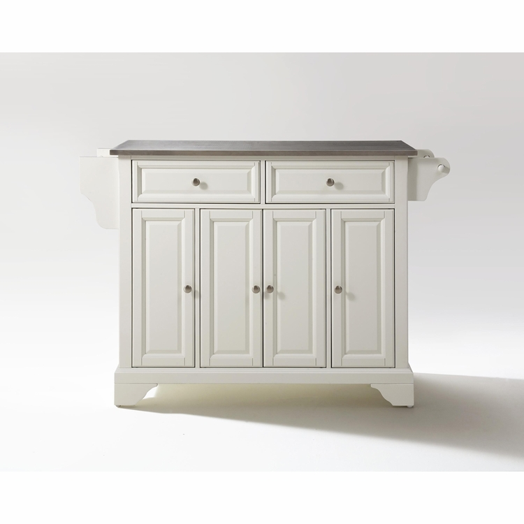 Crosley Furniture - LaFayette Stainless Steel Top Kitchen Island in White Finish - KF30002BWH