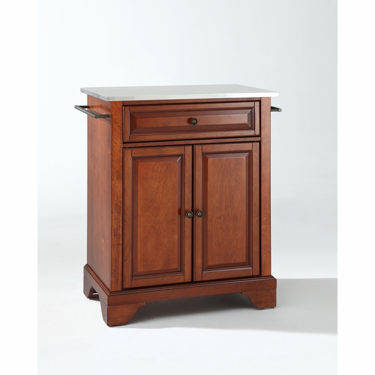 Crosley Furniture - LaFayette Stainless Steel Top Portable Kitchen Island in Classic Cherry Finish - KF30022BCH