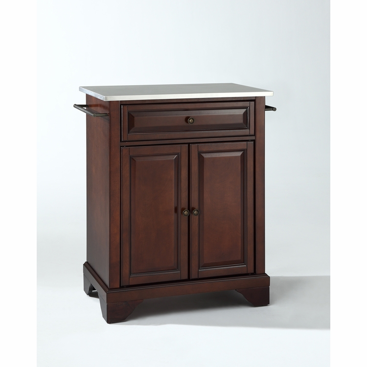 Crosley Furniture - LaFayette Stainless Steel Top Portable Kitchen Island in Vintage Mahogany Finish - KF30022BMA
