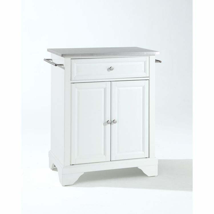 Crosley Furniture - LaFayette Stainless Steel Top Portable Kitchen Island in White Finish - KF30022BWH