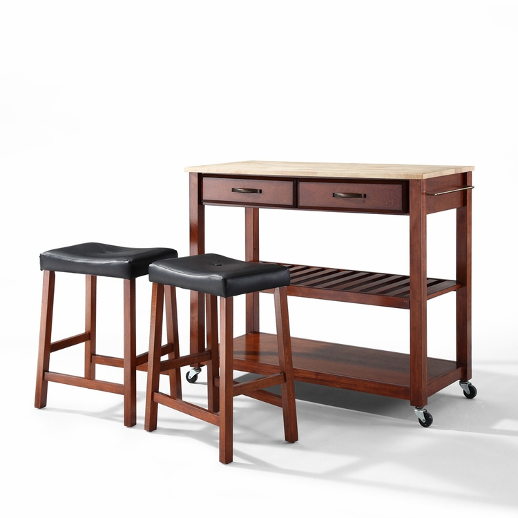"Crosley Furniture - Natural Wood Top Kitchen Cart/Island in Classic Cherry Finish With 24"" Cherry Upholstered Saddle Stools - KF300514CH"