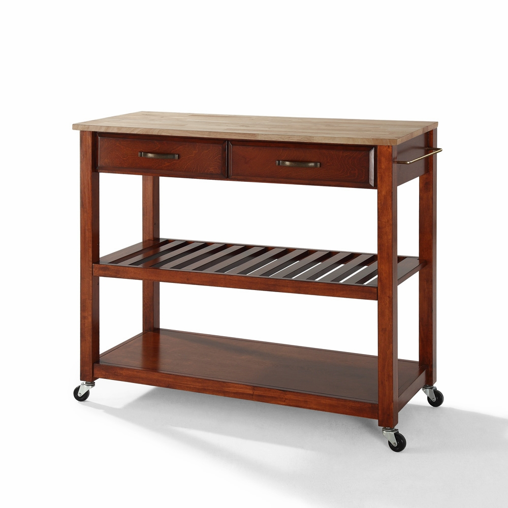 Crosley Furniture - Natural Wood Top Kitchen Cart/Island With Optional  Stool Storage in Classic Cherry Finish - KF30051CH