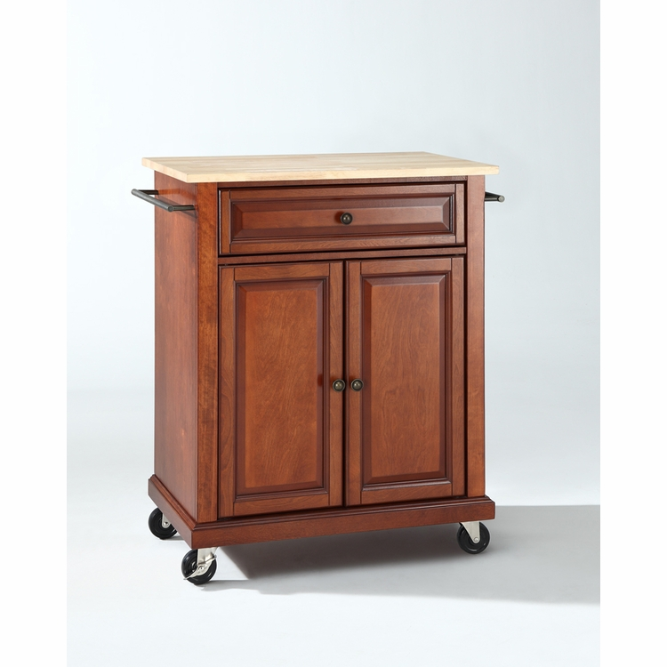 Crosley Furniture - Natural Wood Top Portable Kitchen Cart/Island in Classic Cherry Finish - KF30021ECH