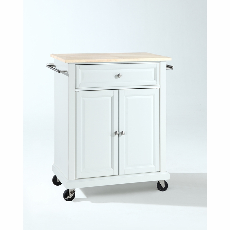Crosley Furniture - Natural Wood Top Portable Kitchen Cart/Island in White Finish - KF30021EWH