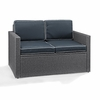 Crosley Furniture - Palm Harbor Outdoor Loveseat in Gray Wicker With Navy Cushions - CO7106WG-NV