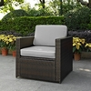 Crosley Furniture - Palm Harbor Outdoor Wicker Arm Chair in Brown With Gray Cushions - KO70088BR-GY