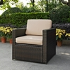 Crosley Furniture - Palm Harbor Outdoor Wicker Arm Chair in Brown With Sand Cushions - KO70088BR-SA