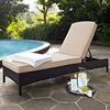 Crosley Furniture - Palm Harbor Outdoor Wicker Chaise Lounge in Brown With Sand Cushions - KO70093BR-SA