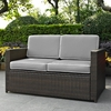 Crosley Furniture - Palm Harbor Outdoor Wicker Loveseat in Brown With Gray Cushions - KO70092BR-GY
