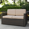 Crosley Furniture - Palm Harbor Outdoor Wicker Loveseat in Brown With Sand Cushions - KO70092BR-SA