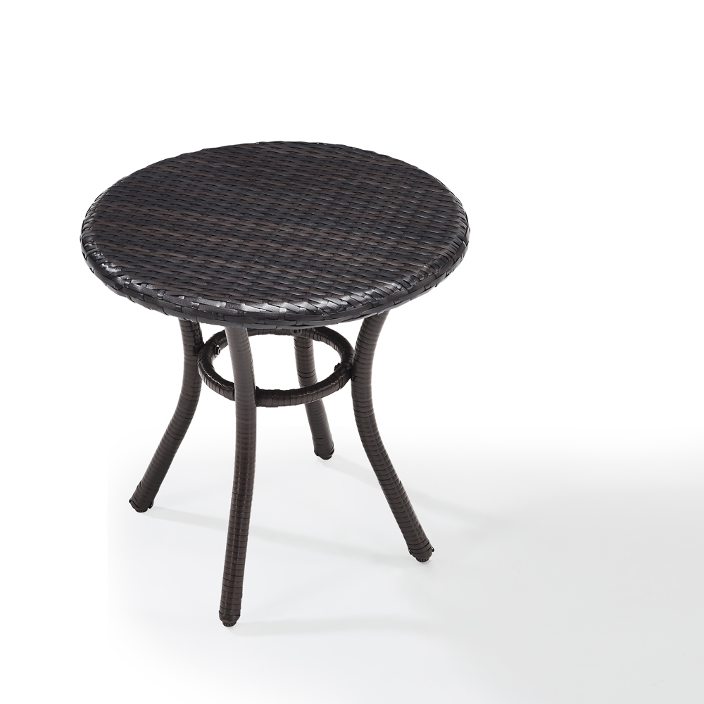 Crosley Furniture Palm Harbor Outdoor Wicker Round Side Table In Brown Co7217 Br