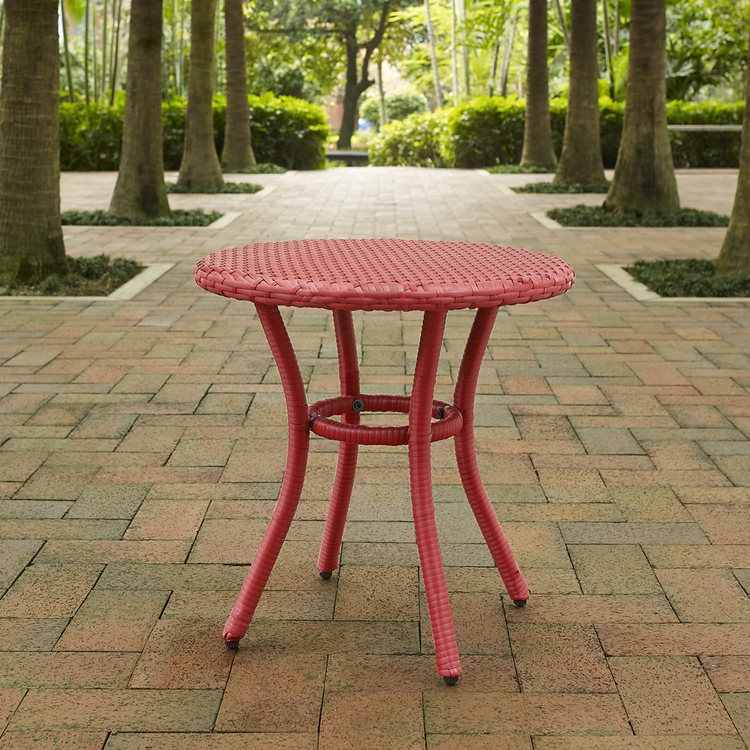 Crosley Furniture Palm Harbor Outdoor Wicker Round Side Table In Red Co7217 Re 14 Jpg