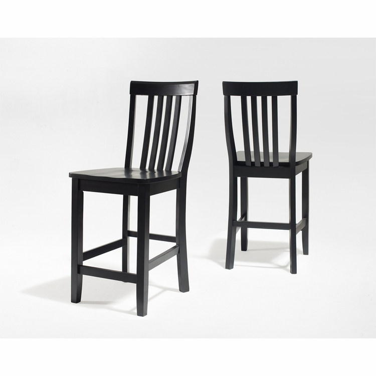 Crosley Furniture - School House Bar Stool in Black Finish with 24 Inch Seat Height  Set of 2 - CF500324-BK