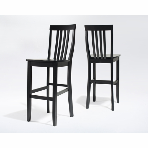 School House Bar Stool In Black Finish With 30 Inch Seat Height Set Of