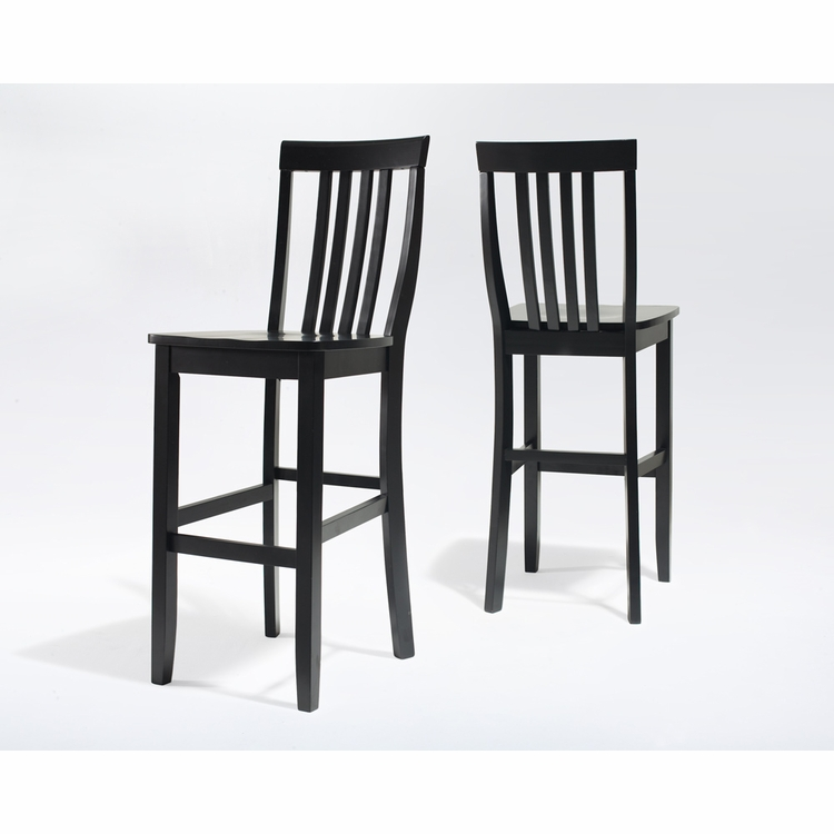 Crosley Furniture - School House Bar Stool in Black Finish with 30 Inch Seat Height  Set of 2 - CF500330-BK
