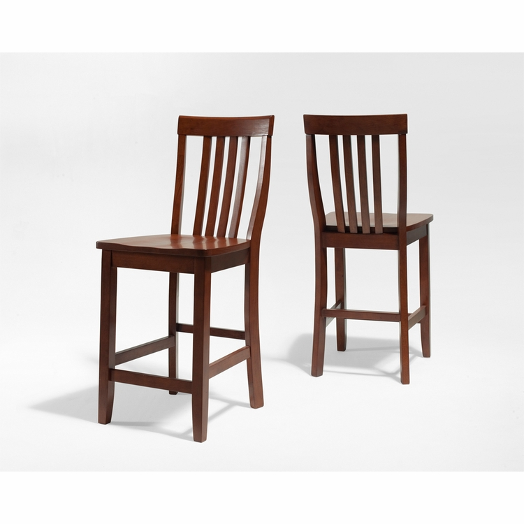Crosley Furniture - School House Bar Stool in Classic Cherry Finish with 24 Inch Seat Height  Set of 2 - CF500324-CH