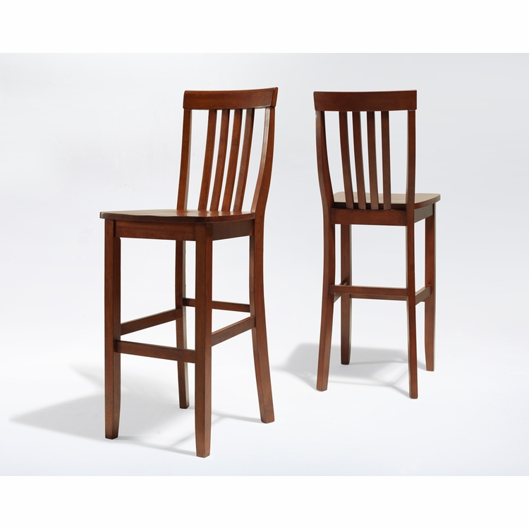 Crosley Furniture - School House Bar Stool in Classic Cherry Finish with 30 Inch Seat Height  Set of 2 - CF500330-CH