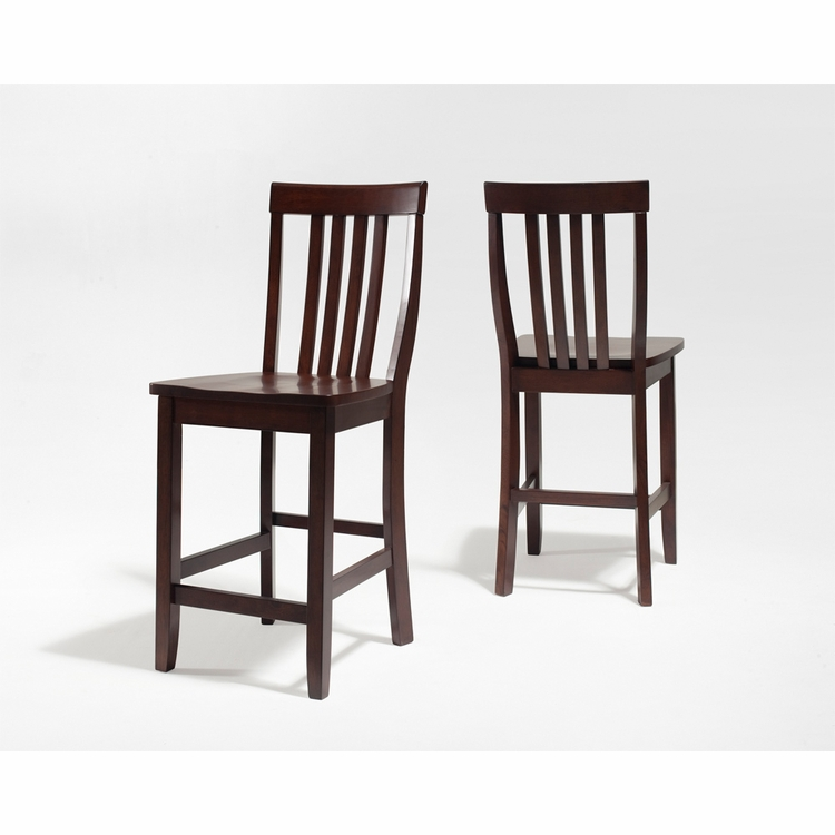 Crosley Furniture - School House Bar Stool in Vintage Mahogany Finish with 24 Inch Seat Height  Set of 2 - CF500324-MA