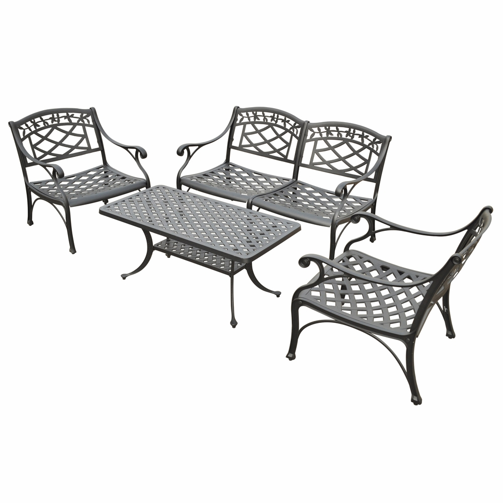 Crosley Furniture Sedona 4 Piece Cast Aluminum Outdoor Conversation Seating Set Loveseat 2 Club Chairs Tail Table In Black Finish