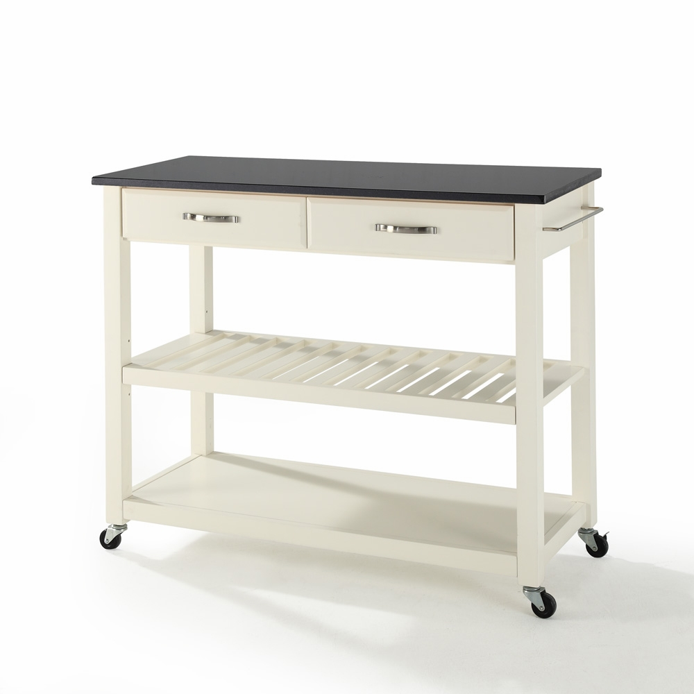 Crosley Furniture - Solid Black Granite Top Kitchen Cart/Island With  Optional Stool Storage in White Finish - KF30054WH