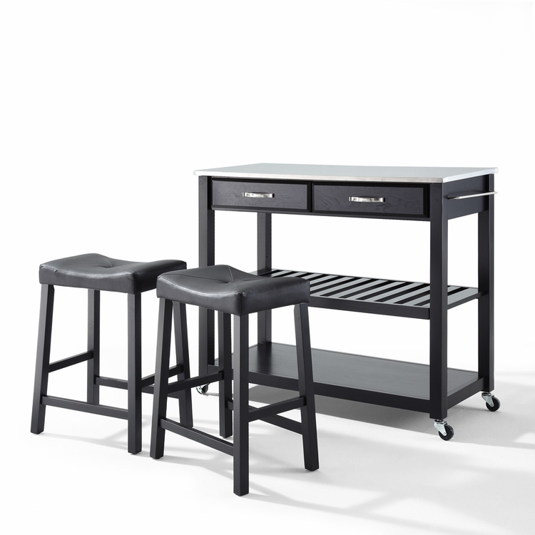 """Crosley Furniture - Stainless Steel Top Kitchen Cart/Island in Black Finish With 24"""" Black Upholstered Saddle Stools - KF300524BK"""