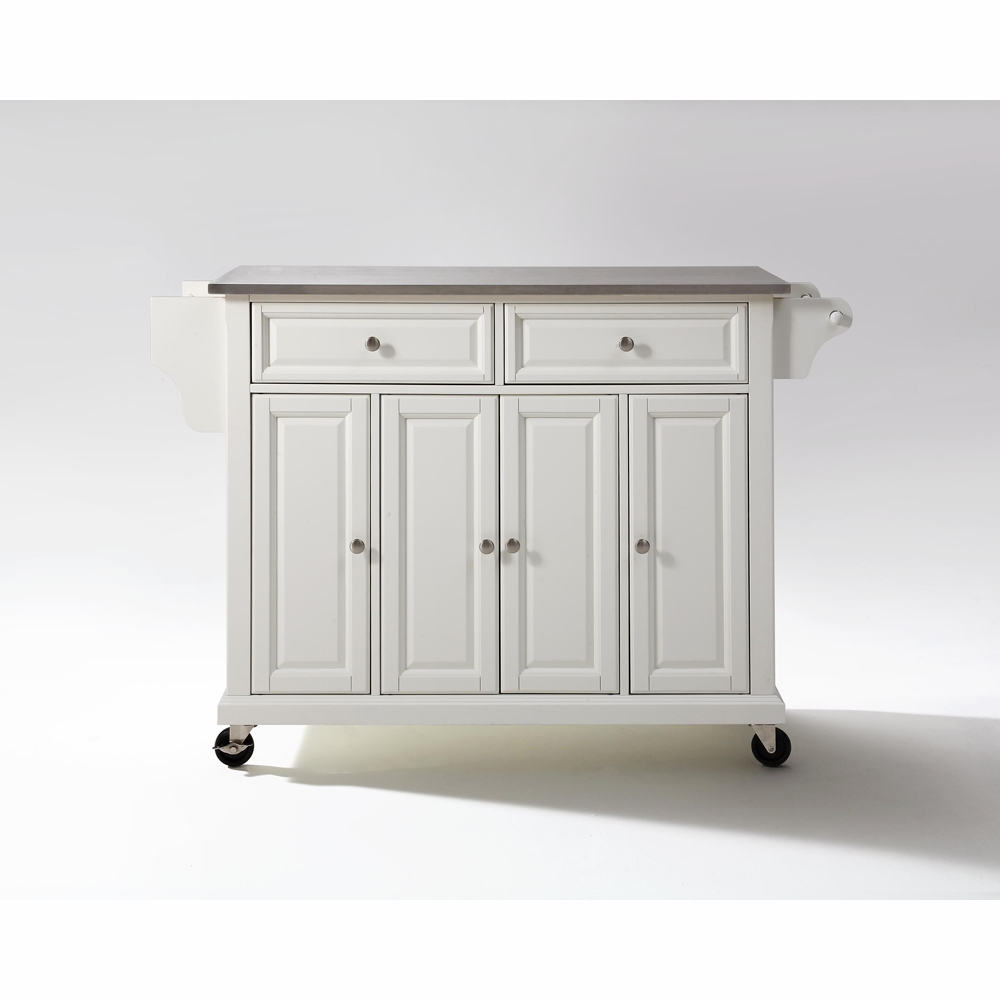 Crosley Furniture - Stainless Steel Top Kitchen Cart/Island in White Finish  - KF30002EWH