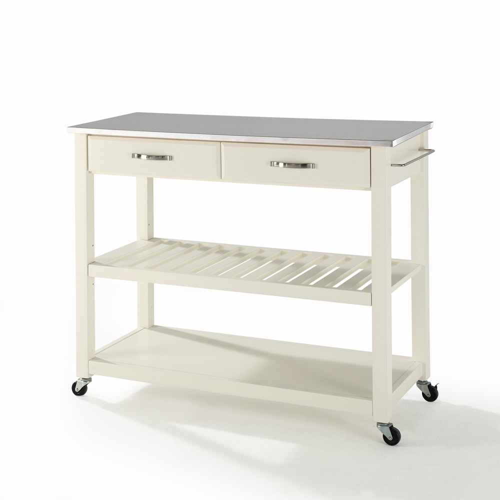 Crosley Furniture - Stainless Steel Top Kitchen Cart/Island With Optional  Stool Storage in White Finish - KF30052WH