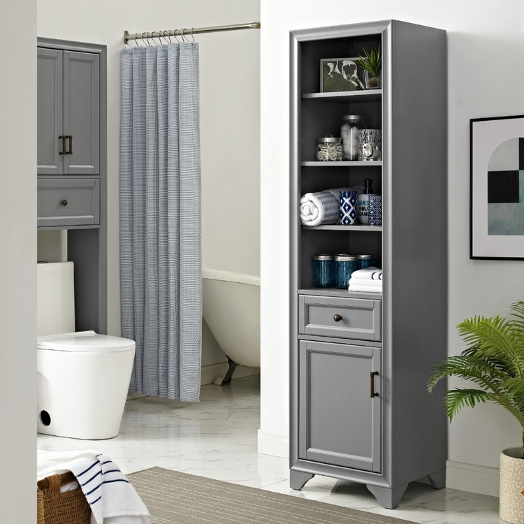 Crosley Furniture - Tara Linen Cabinet in Vintage Gray - CF7011-GY