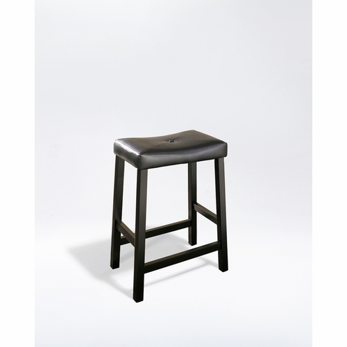 Crosley Furniture Upholstered Saddle Seat Bar Stool In Black Finish With 24 Inch Height Set