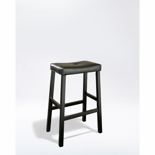 Crosley Furniture Upholstered Saddle Seat Bar Stool In Black Finish With 29 Inch Height Set