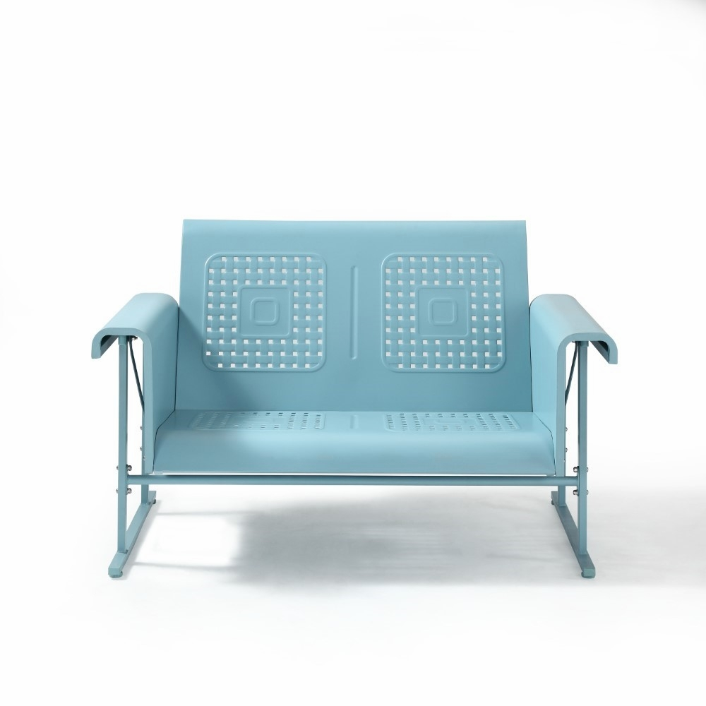 Surprising Crosley Furniture Veranda Loveseat Glider In Caribbean Blue Co1027 Bl Onthecornerstone Fun Painted Chair Ideas Images Onthecornerstoneorg