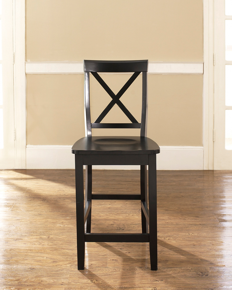 Crosley Furniture X Back Bar Stool In Black Finish With 24 Inch