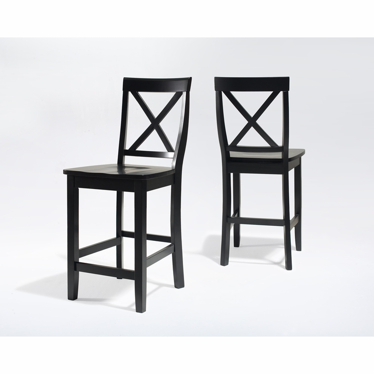 Crosley Furniture - X-Back Bar Stool in Black Finish with 24 Inch Seat Height  Set of 2 - CF500424-BK