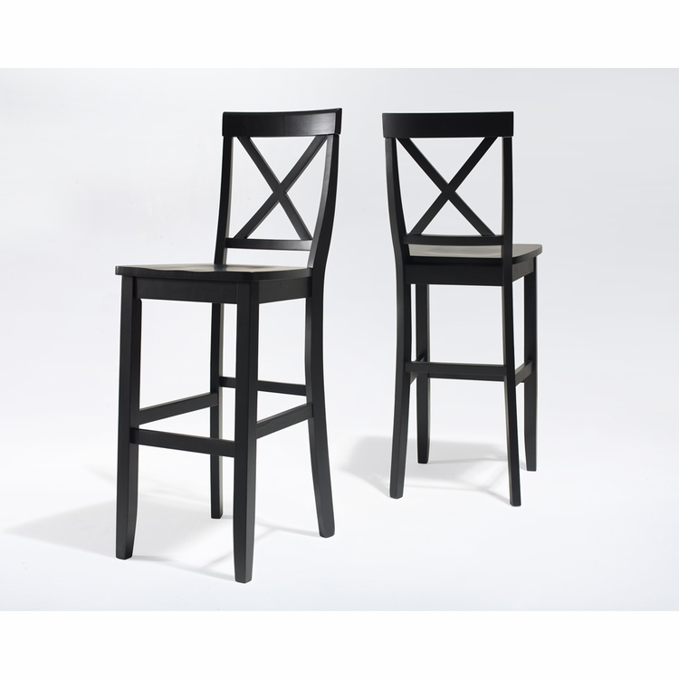 Crosley Furniture - X-Back Bar Stool in Black Finish with 30 Inch Seat Height  Set of 2 - CF500430-BK