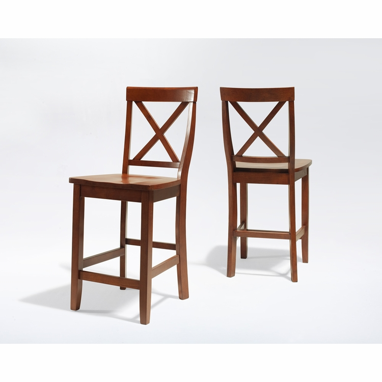 Crosley Furniture - X-Back Bar Stool in Classic Cherry Finish with 24 Inch Seat Height  Set of 2 - CF500424-CH