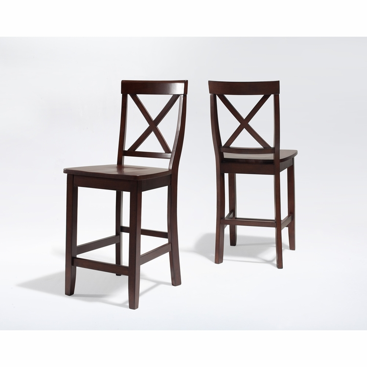 Crosley Furniture - X-Back Bar Stool in Vintage Mahogany Finish with 24 Inch Seat Height  Set of 2 - CF500424-MA