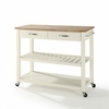 Crosley Furniture - Natural Wood Top Kitchen Cart/Island With Optional Stool Storage in White Finish - KF30051WH