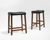 Crosley Furniture - Upholstered Saddle Seat Bar Stool in Classic Cherry Finish with 24 Inch Seat Height  Set of 2 - CF500224-CH