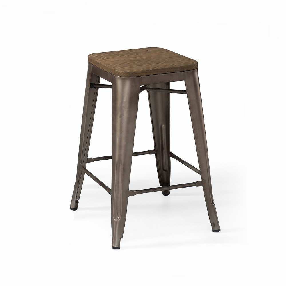 Fine Design Lab Mn Dreux Rustic Matte Gunmetal Elm Wood Seat Steel Stackable Counter Stool Set Of 4 Ls 9102 Rmtw Pdpeps Interior Chair Design Pdpepsorg
