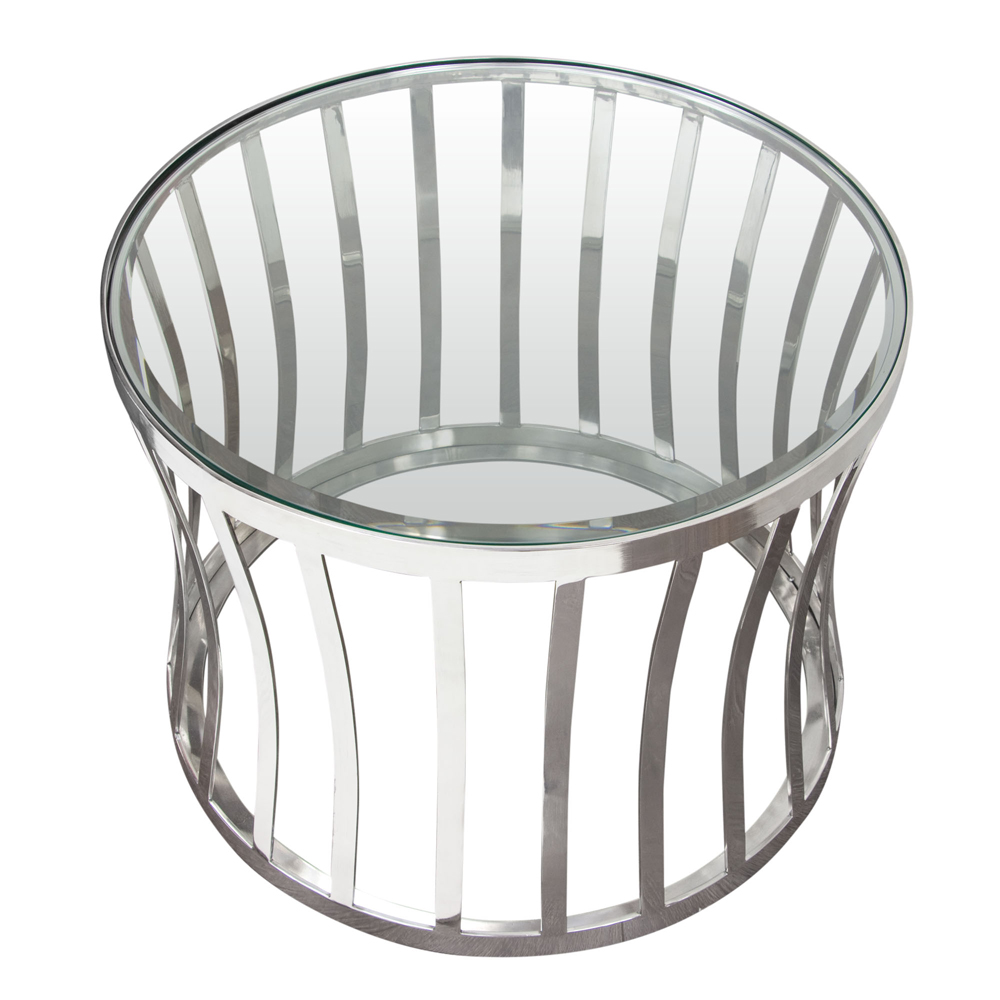 Capri Round Stainless Steel End Table With