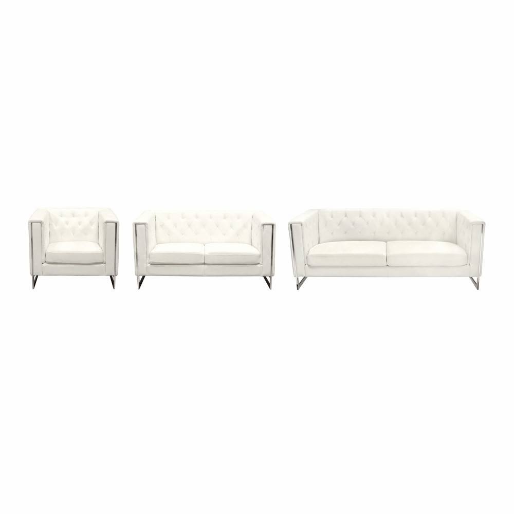 Awe Inspiring Diamond Sofa Chelsea Leatherette Sofa Loveseat Chair 3Pc Set With Metal Leg White Chelseaslcwh Gamerscity Chair Design For Home Gamerscityorg