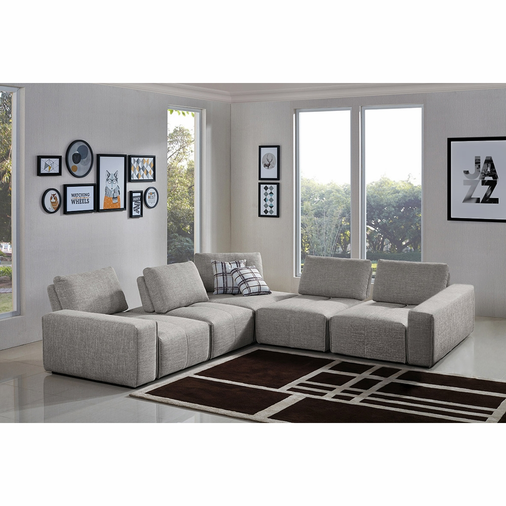 Diamond Sofa - Jazz Modular 5-Seater Corner Sectional with Adjustable  Backrests in Light Brown Fabric - JAZZ4AC1SC2ARLB