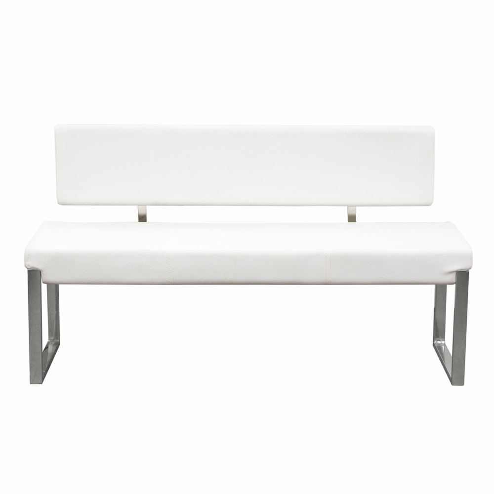 Strange Diamond Sofa Knox Bench With Back Stainless Steel Frame White Knoxbbewh Beatyapartments Chair Design Images Beatyapartmentscom